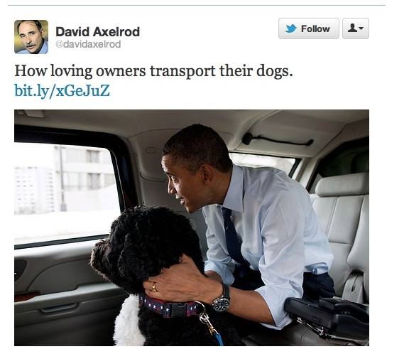 Bag's Take-Away:   Re: David Axelrod's canine TwitPic Romney slapdown. Once again, White House, itching for battle, squeezing every ounce of juice out of otherwise pretty bland Flickr upload — and reframing Obama in a bubble.  White House Flickr photo via @davidaxelrod   Visit BagNewsNotes: Today's Media Images Analyzed  —————  Topping LIFE.com's 2011 Best Photo Blogs — follow us on Twitter and Facebook.