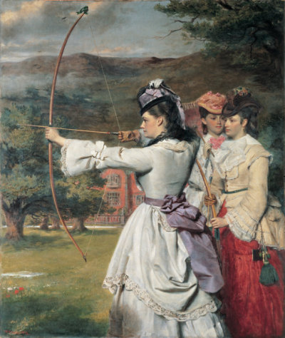 drunkcle:  The Fair Toxophilites by William Powell Frith (1872). If you look closely, you'll be able to see the subtle Lesbian theme that runs through many images of women and archery. Also, funny hats.