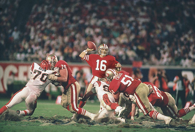 Joe Montana makes a pass during Super Bowl XXIII against the Bengals. Tom Brady has a chance to match Montana's four Super Bowl rings when the Patriots take on the Giants in Super Bowl XLVI on Sunday (Richard Mackson/SI) SI VAULT: Montana, 49ers knocks out Bengals with late rally (1.30.89)TROTTER: Despite his calm demeanor, Tom Brady has a competitive driveDEITSCH: The definitive viewer's guide to Super Bowl XLVI