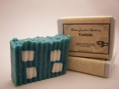 whocrafts:  (via Doctor Who Tardis Handcrafted Luxury Bar Soap by MadameJacqueline)  Now thats just wrong. I love Doctor Who themed everything too, but come on. DOn't give my rigid blue soap with a couple of random white squares and name it a tardis -__- THAT IS NOT TARDIS SOAP