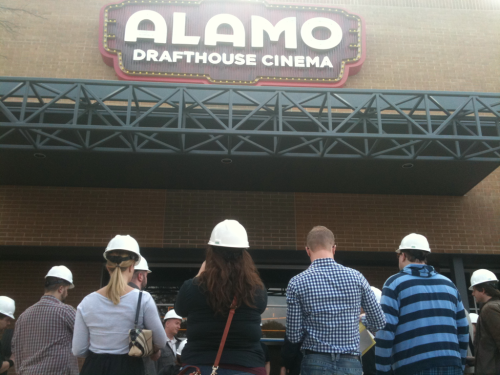 At a (literal) hard hat tour of the new @drafthouse on Slaughter with @gdinges, who, as you can see, almost didn't get his helmet on in time.