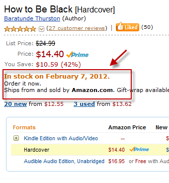 From How To Be Black Street Team member James Britton:  Sold out at Amazon?!