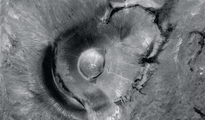 Satellite view of Roden Crater, Arizona. Photo: US Geological Survey. via: thepacegallery
