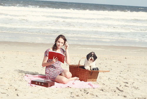 Picnic on the beach with dog,book and camera! | Flickr – Compartilhamento de fotos! on We Heart It. http://weheartit.com/entry/20960476