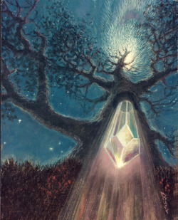 "infiniteofferingsongs:  ""Crystal Tree"" By: Arthur Doet This is a symbolic rendition or portrait of a woman showing integration of her heavenly (sky) nature and that aspect of her which is of the Earth. The crystal represents her divine potential to integrate the heavenly and sexual natures."