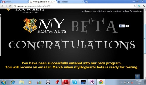 GOT INTO THE BETA TESTING FOR MYHOGWARTS! :D :D :D Pottermore, you can go screw yourself.