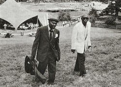 Earl Bell and Mose Vinson on the grounds of the 33rd National Folk Festival 1971photographer: Herbert Wise