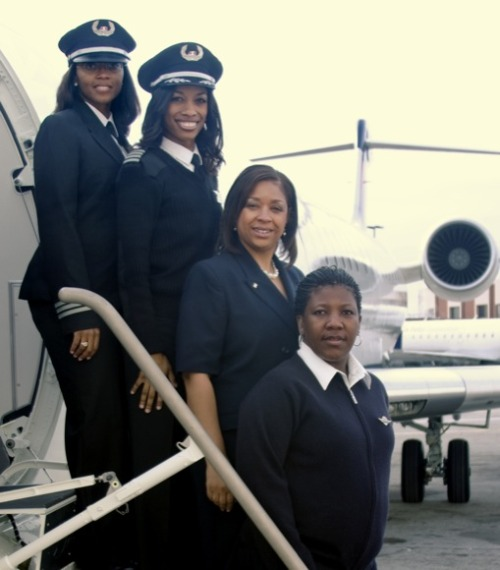 newmodelminority:  crackconchlife:  First All Female African-American Flight Crew. Captain Rachelle Jones, first officer Stephanie Grant and flight attendants Diana Galloway and Robin Rogers made history on February 12th when their Atlanta-based Delta Connection carrier departed from Atlanta to Nashville, Tennessee.  #byrdgirls!  That would be the sassiest flight ever.