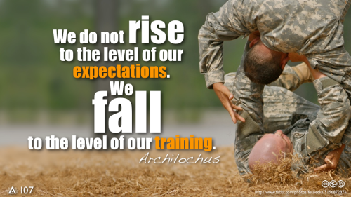 We do not rise to the level of our expectations. We fall to the level of our training. — Archilochus, Greek Soldier, Poet, c. 650 BC