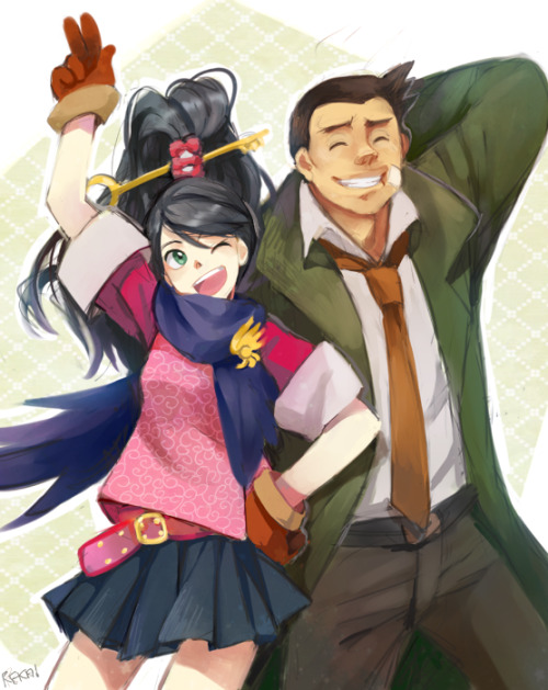 ryuclockwork:  kay and gumshoe by ~reka-chan