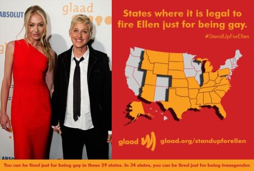 ryanjdavis:  You can be fired in 29 states for being gay. Learn more at GLAAD and stand up for Ellen.
