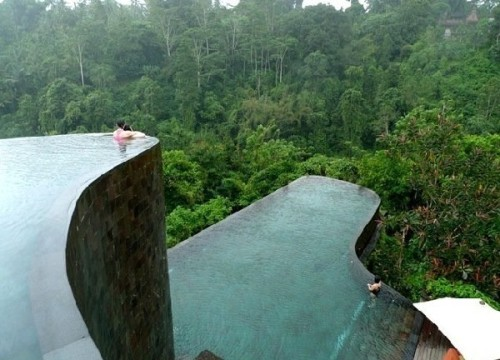 Magnificent Infinity Pools at Ubud Hanging Gardens Luxury Hotel & Resort.
