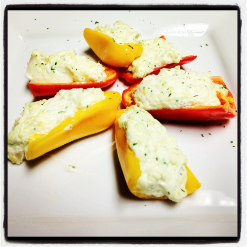 roothakers:  Goat cheese and cream cheese stuffed baby bell peppers.  Stuffed just like your mom.
