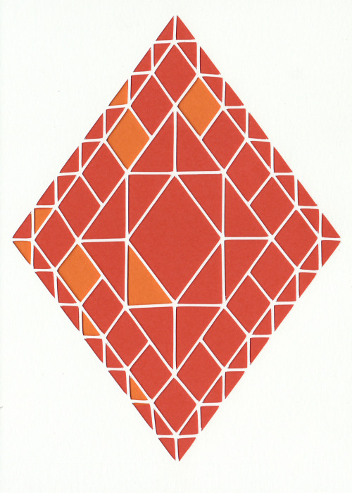 Here is an orange Erte inspired diamond cut out that I made. 5x7 bristol board and card stock