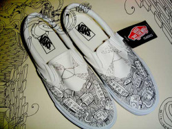 Customised Vans. These trainers were customised by me for one of the guys at Tone Control, Tone  Control are soulful underground Production duo Simon Finnegan and Marcus Harris who's releases can be found on their fast growing label, Tone Control Music. Since their debut  release on Grab Recordings with DJ Freestyle in 2005, the duo's Tone Control  productions have received support from heavy weight house DJ's such as  Roy Davis Jnr, Miguel Migs, Charles Webster, JT Donaldson and Demarkus Lewis.