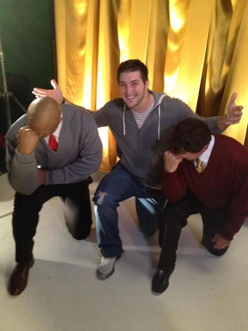Doug Flutie and Eddie George Tebowing with Tebow!