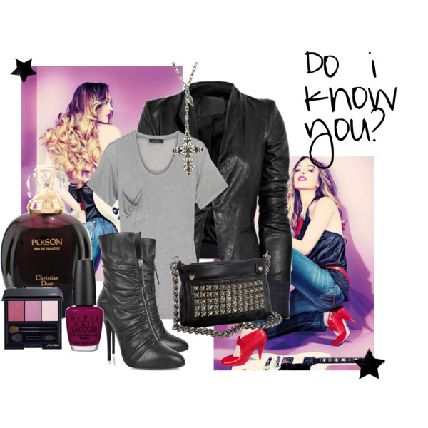 Do i know you? by grungeblossom.polyvore.com    Kain t shirt, $90A L C leather jacketGiuseppe Zanotti high heels, £462Tylie Malibu cross body handbag, $158Shiseido Luminizing Satin Eye Color Trio, $33Christian Dior - Poison Eau De Toilette Spray 50ml/1.7oz, $92O.P.I. My Throne For A Cranberry Scone, $8.50Mandee: Filigree Cross, $10
