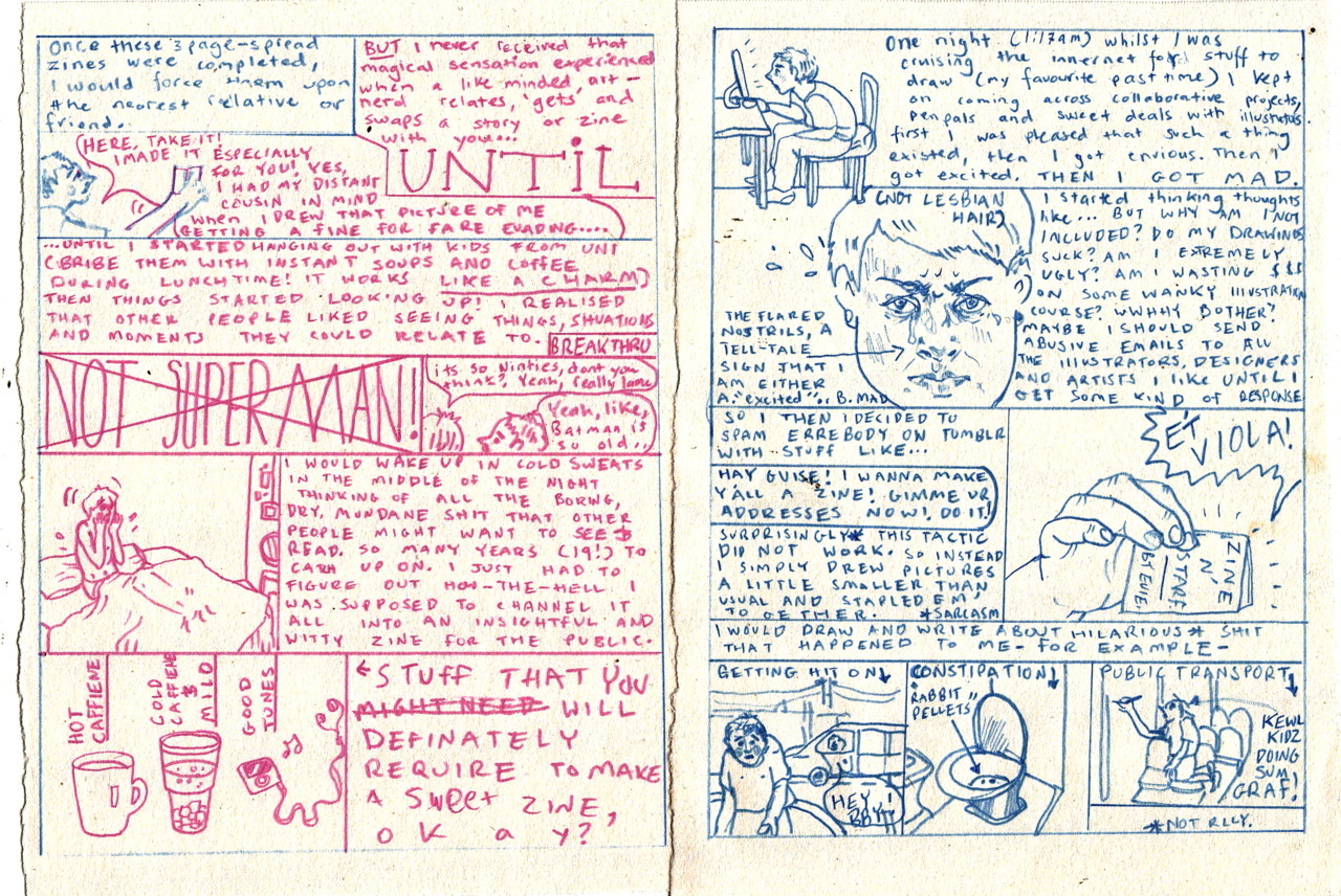 First two pages of a zine-about-making-zines. [They should be the other way 'round]