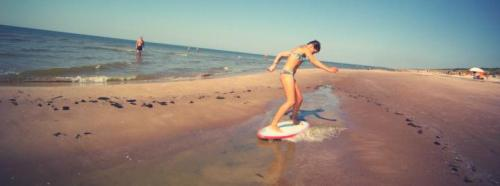 first time skimboarding