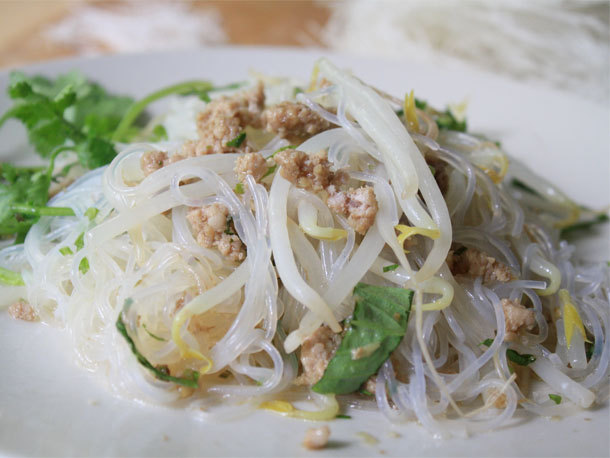 Cellophane Noodles with Pork and Thai Basil Recipe