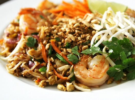 Shrimp Pad Thai with Cilantro, Lime, Carrots, and Peanuts Recipe