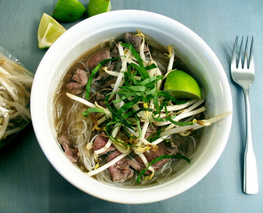 Vietnamese Rice Noodle Pho with Beef, Lime, Cilantro, and Mung Bean Sprouts Recipe