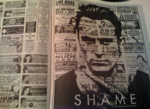 An awesome newspaper advertisement for Shame.