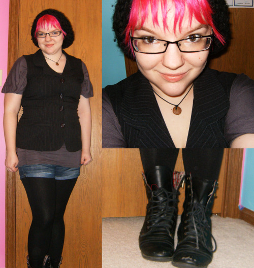 Yay, my lovely pink haired friend! This is a super cute outfit - I love the look of shorts over tights. brokenpinky submitted: My outfit today!!! I've done a few variations of this outfit lately and I am LOVING IT! Both tops are thrifted. Shorts and Boots are from Wal-Mart. Fleece-Lined Tights are from Payless.