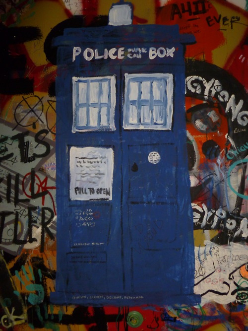 michaelgudino:  The Doctor Who mural in the sub corridors at my school. :) Cal Arts :D