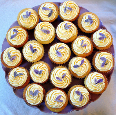 lemon / lavender cupcakes by distopiandreamgirl on Flickr.