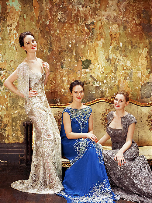 Michelle Dockery, Jessica Brown-Findlay, and Laura Carmichael photographed for Vogue UK by Uli Weber