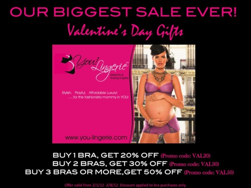 PINK HOT!!! Our biggest sale EVER!!!  Save up to 50% off just in time for Valentine's Day!!! From You! Lingerie