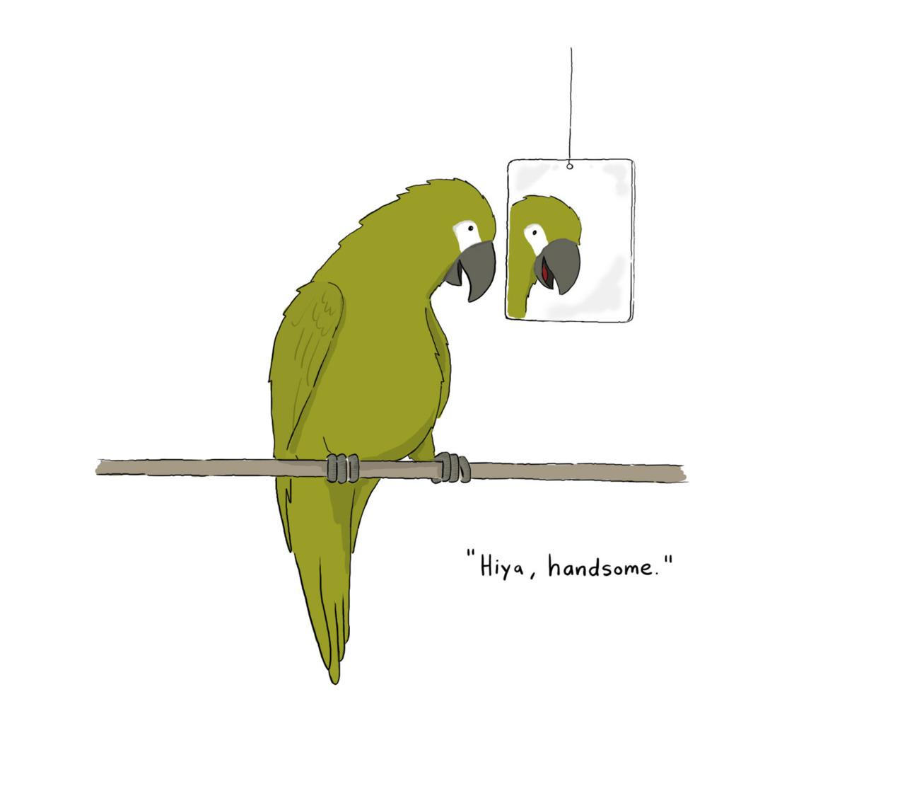 14 Days of Love  (barf) Day Two: The Narcissistic Parrot Because learning to love yourself is the greatest love of all.  © Liz Climo