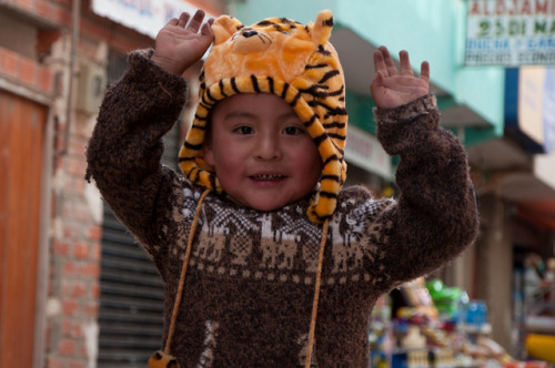 Bolivian people  Boy in Tiger Hat, Copacabana, Bolivia, 2010 by Sarah Barbasch on Flickr. (faith-in-humanity)