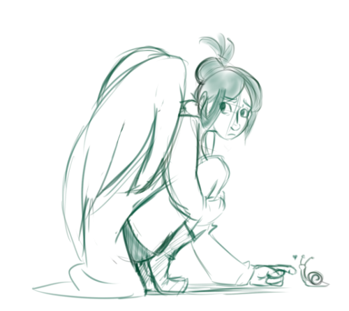 "nikutsune:  ""Scared angel who wears a lab coat and likes Snail"" Having fun with the  Monster Girl and Boy Generator."