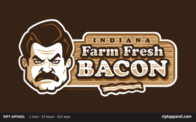 Limited Edition Tshirt: Farm Fresh Bacon by WinterArtwork is on sale for $10 from RiptApparel for 24 hours only.