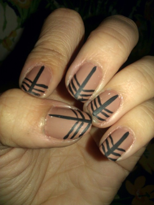 Just some matte stripey nails. I like stripes.