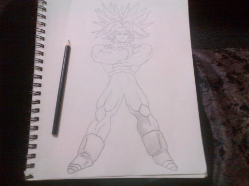 In the works its my trunks from dragon ball uhm kinda dizzy looking back and forth from the screen and down -_-' uhm had trouble on the shoes but gtting there shading is what takes m the longest cuz I like it o be more realistic like my gohan but yah