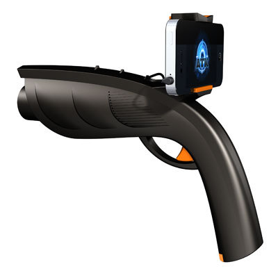 "XAPPR gun turns your smartphone into a… gun? I'm not sure if this will be exciting or not, but it sure makes me want to play laser tag. The ZAPPR is said to be a ""gaming peripheral for smartphones"". The device allows you to play augmented reality shooting games, such as AR Invaders. Of course you don't need the gun to play that game, but it does look kind of cool. While most handsets should fit the device, games are only available for Android and iOS at this stage. The ZAPPR costs $30 plus shipping - you can pre-order now for a June release."