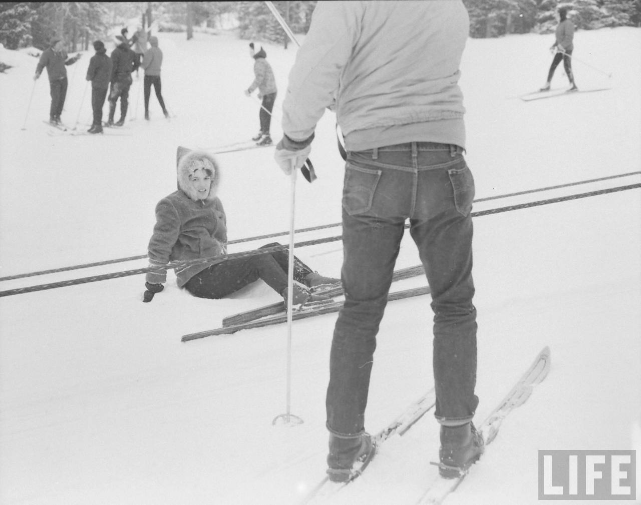 Skiing in Lee Jeans. 1961Freaky. This post was queued days ago and then as it published it snowed hard.