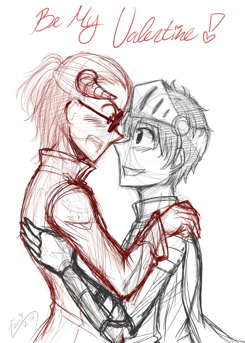"""Be My Valentine, Artemas"" I wanted to sketch something for your Iyayyayayayaya ;w; Try to cheer you up!! I'm sorry the night went sour. But don't worry, tomorrow will bring a new, brighter day >w<!! Artemas and Phares can cheer you up, RIGHT 8D?? I mean, Phares and his wife ;D Lol Jotunheimr boys~ I'm actually not sure…what Artemas would say to that OTL Rofl Anyway, remember to smile today <3 (Sorry my sketches are so messy….*Passesoutfromsleepiness*)"