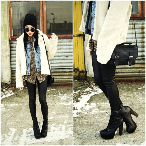 MIX IT UP Vintage with ModernSecond hand fur and shirt+ H&M leggings  Synthetic solution BY PAM S., 21 YEAR OLD STUDENT FROM POLAND