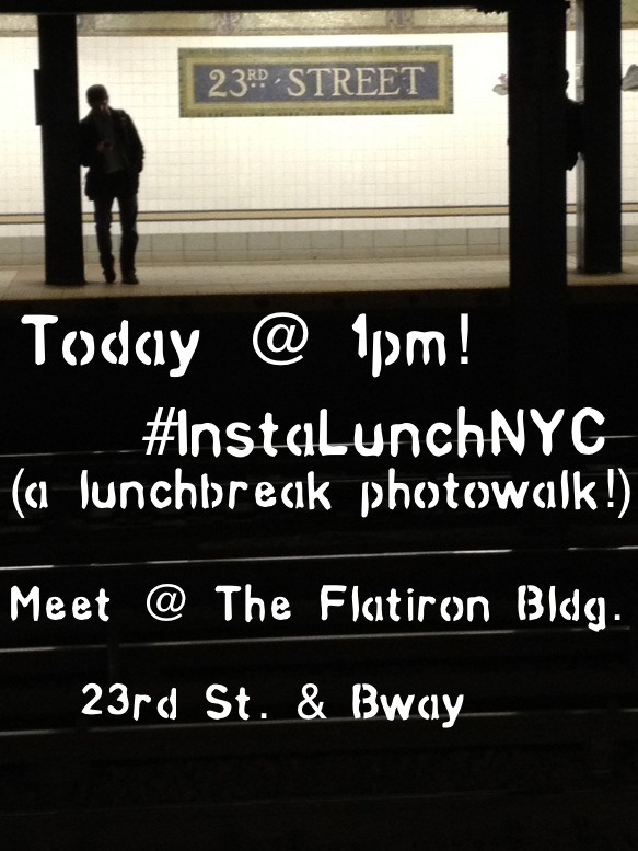 Calling all iPhoneographers! Today at 1pm @LolitaLens and @Jacelinda will host #InstalunchNYC…a lunchtime Instagram photowalk! Meet them at the Flatiron Building on 23rd and Broadway. Nice weather today so come on out and meet your fellow iPhoneographers (we're a friendly bunch) and shoot cool photos in Madison Square Park. If you're joining us, please tag all your photos with #InstaLunchNYC. If you can't make it, check out the hashtag later today!