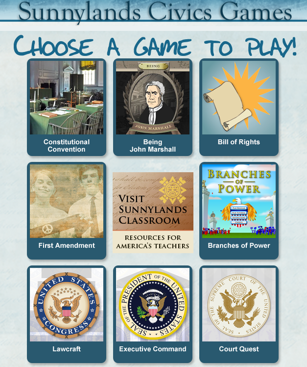 Sunnylands Civics Games is designed to enhance lessons on the Constitution. #elemchat #spedchat #sschat You may also like…  Argument Wars  Academy of Achievement (Good resource for Back History) The UnMuseum's Universe Theater