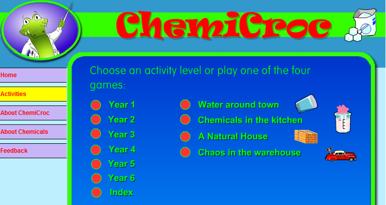 "ChemiCroc - Interactive chemistry site for kids. #elemchat #spedchat #scichat ""ChemiCroc is a Professor of Chemistry and wants to help children learn more about the chemicals that surround them in their everyday life. As well as being a helpful Croc he can sometimes get into a lot of trouble, and in the ChemiCroc games you must help him get out of trouble by helping him use his knowledge of Chemistry.""  You may also like… The Periodic Table of Videos Planet Science The Science Museum of Minnesota"
