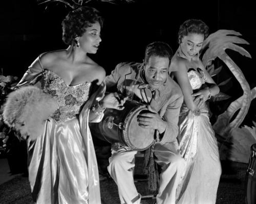 "Duke Ellington with (r to l) my aunt Margaret Tynes and Joya Sherrill rehearsing for the television version of Ellington's jazz suite A Drum is a Woman. The one-hour television special aired on CBS's ""U.S. Steel Hour"" on May 8, 1957. Photo (obviously) via Getty Images."