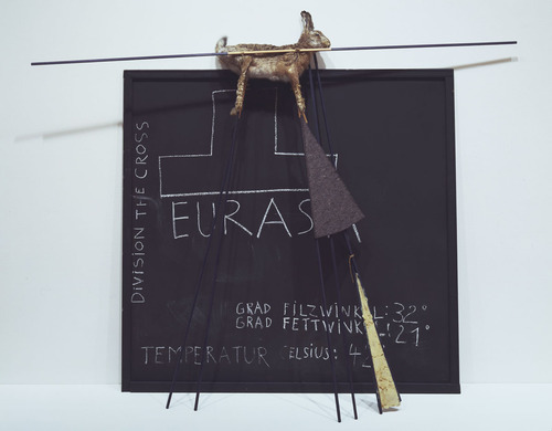 "Joseph Beuys , Eurasia Siberian Symphony 1963, 1966. Panel with chalk drawing, felt, fat, hare, and painted poles, 6' x 7' 6 3/4"" x 20"" (183 x 230 x 50 cm). Gift of Frederic Clay Bartlett (by exchange). © 2012 Artists Rights Society (ARS), New York / VG Bild-Kunst, Bonn MOMA"