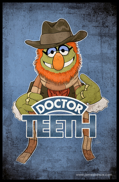 someorangesonfire-:  jameshance:  Hello, there! My new tee design, 'Doctor Teeth' (The Muppets / Doctor Who) is now available as a print at http://www.jameshance.com (US/Canada) and http://www.jameshance.co.uk (UK/Europe). Both versions of the t-shirt live here. Thanks so much for the kind words, as always :) x  God, this is RAD