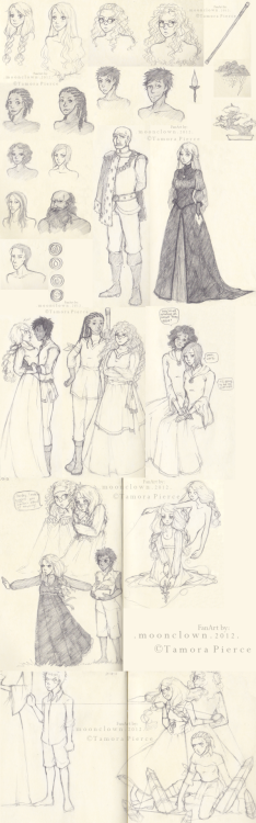 themooncorner:  SO. HUGE huge sketch-dump of one of my favorite series ever: The Circle of Magic by Tamora Pierce. Read this when I was in middle school and then reread them just. so. recently. and WOW. I have so much love for this series. My sis also just got me The Will Of The Empress for my birthday, which, to my shame, I have not read. Anyway, I know this series isn't very popular, but for those who know it, YAY! I guess. Bonus points to anyone who can guess each and everyone of them. Hehe. Some pictures don't belong like that lil hug I drew between Sandry and Briar. I ship them, okay? I seriously couldn't resist not drawing them like that. Also, I know Older!Tris's hair belong in braids in The Will Of The Empress, but I got tired of drawing braids. The same case goes as well for Older!Sandry. Herp derp. Lastly, I drew Lark and Rosethorn like that cause I wondered what they'd look like when everyone's all grown up and they're all sad and.. yeah. I also like to think that Briar's shakkan is in the form of a Bonsai tree, instead of a Pine tree… all cause the bonsai is so much fun to draw……………. That last scene is obviously a WIP.. and it's my favorite part of Briar's Book. Everyone was just so.cool. in it. I know I put an insane number of watermarks, but I think I got my point across. better safe than sorry. So here it is once again. Fanart's by me.The Circle Of Magic and all it's awesome characters belong to Tamora Pierce.