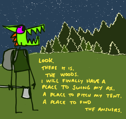 THE ANSWERS explodingdog:  Crazy Monster finds the woods, I hope he doesn't find the bagels to be disappointing. Crazy Monster decides to head into the woods